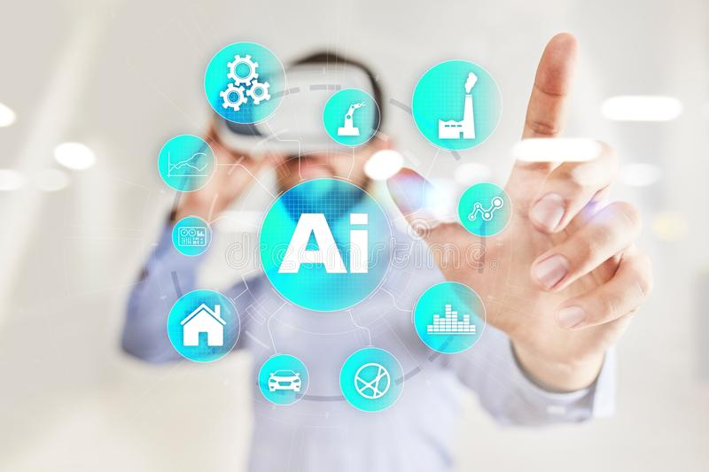 AI, Artificial intelligence, machine learning, neural networks and modern technologies concepts. IOT and automation. AI, Artificial intelligence, machine royalty free stock photos