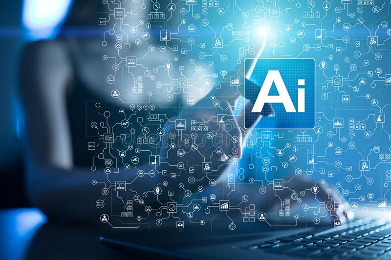 AI, Artificial intelligence, machine learning, neural networks and modern technologies concepts. IOT and automation. AI, Artificial intelligence, machine royalty free stock photo