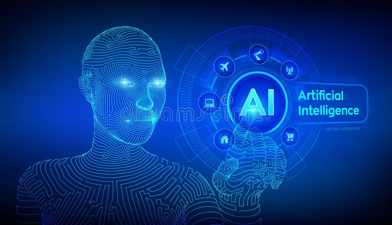 AI. Artificial intelligence. Machine learning. Wireframed female cyborg hand touching digital graph interface. Big data analysis. And automation technology royalty free illustration