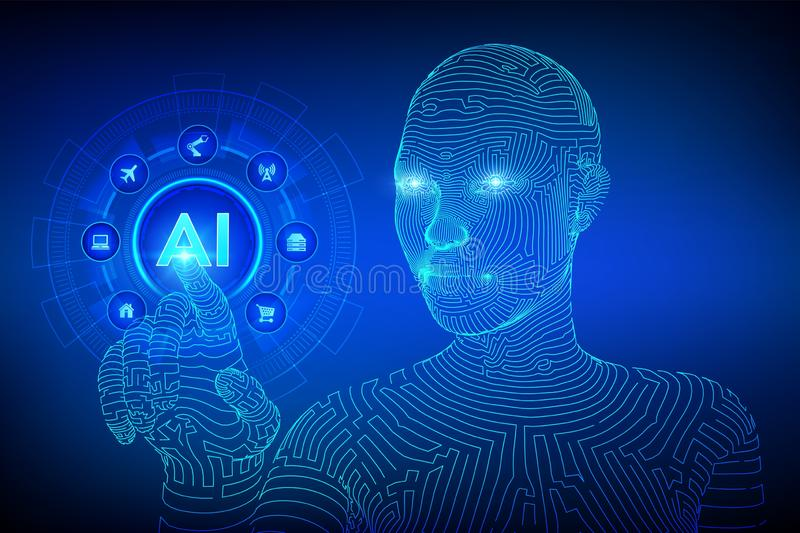 AI. Artificial intelligence. Machine learning. Wireframed female cyborg hand touching digital graph interface. Big data analysis. And automation technology vector illustration