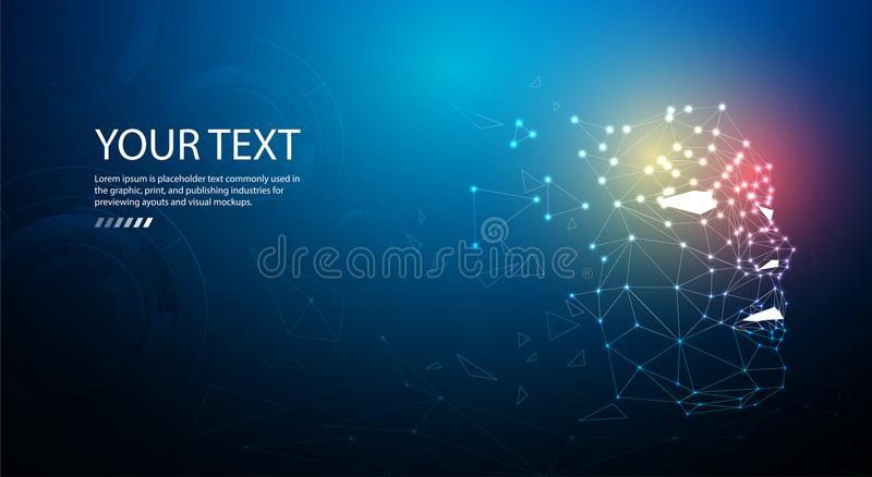 Ai or Artificial intelligence. Technology web background. Virtual concept stock illustration