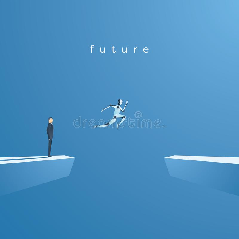 Ai or artificial intelligence vector concept with ai robot jumping, leaping into future. Symbol of technology advance. Innovation, automation. Eps10 vector royalty free illustration