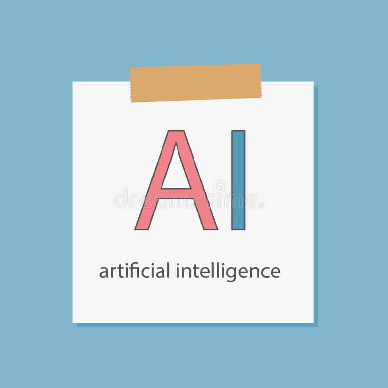 AI Artificial intelligence written in a notebook paper. Vector illustration stock illustration