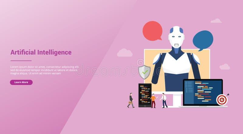 Ai-begrepp för konstgjord intelligens med roboten och konstruktion för teknologiutveckling för websitemallen som landar homepage  vektor illustrationer