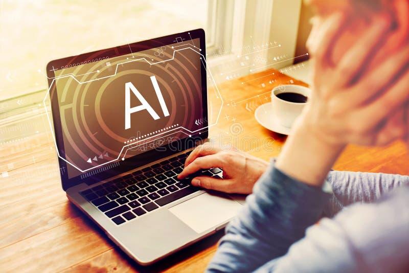 Ai-begrepp med mannen som använder en bärbar dator royaltyfria foton