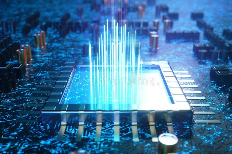AI - begreppsCPU för konstgjord intelligens Lära för maskin Processorer för central dator på strömkretsbrädet med royaltyfri illustrationer