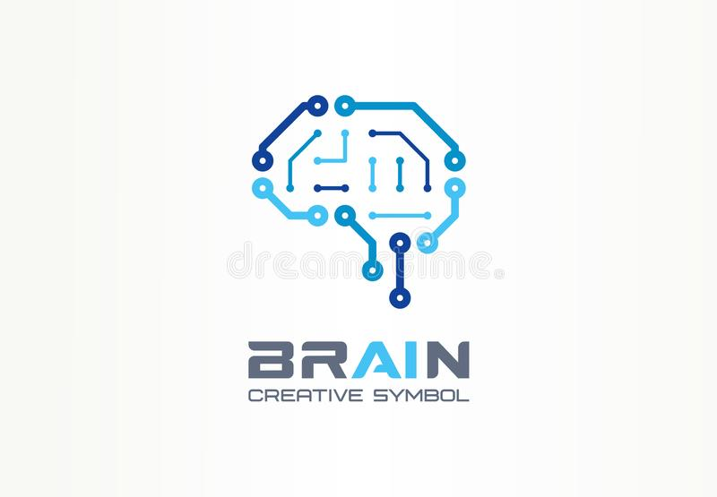 AI brain creative symbol concept. Smart chip, neural network, robot circuit abstract business logo. Cyber mind digit stock illustration