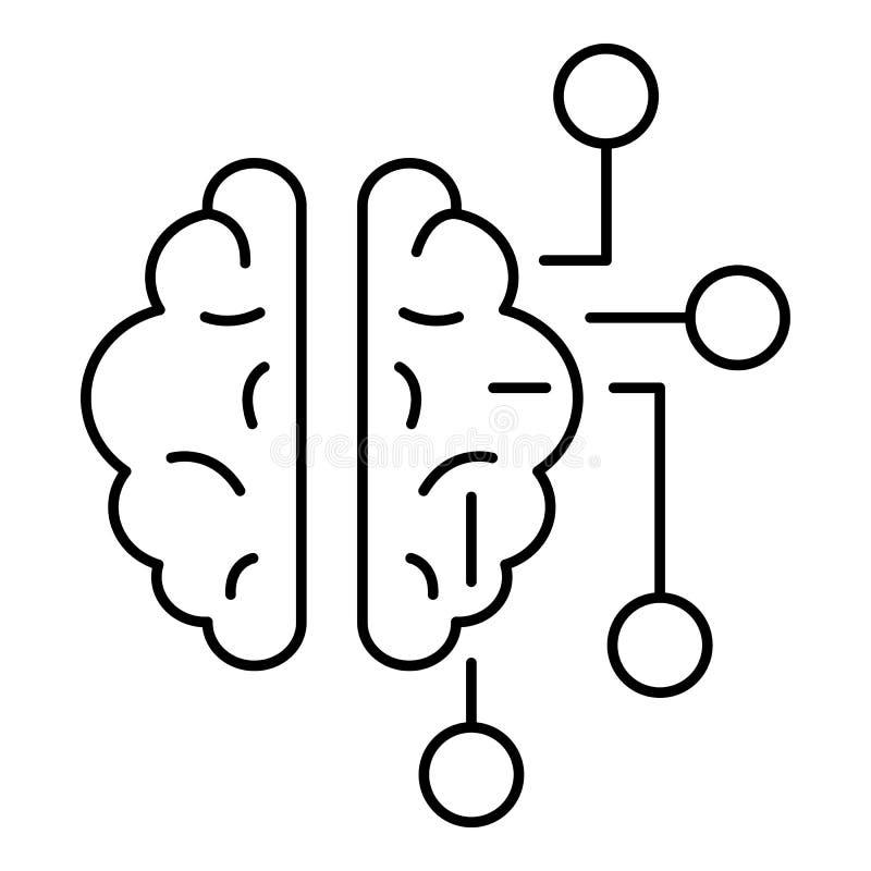 Ai brain icon, outline style stock illustration