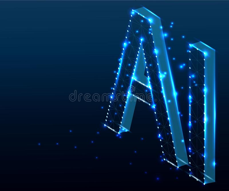 AI Brief, isometrische veelhoek, blauw 2 vector illustratie