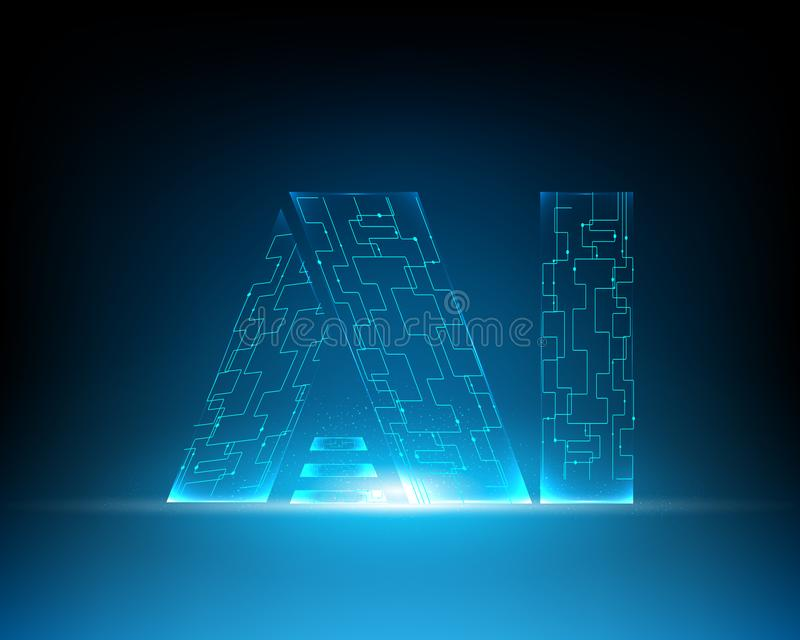 AI Brieven Digitale Kunstmatige intelligentie en grote gegevens Machin stock illustratie