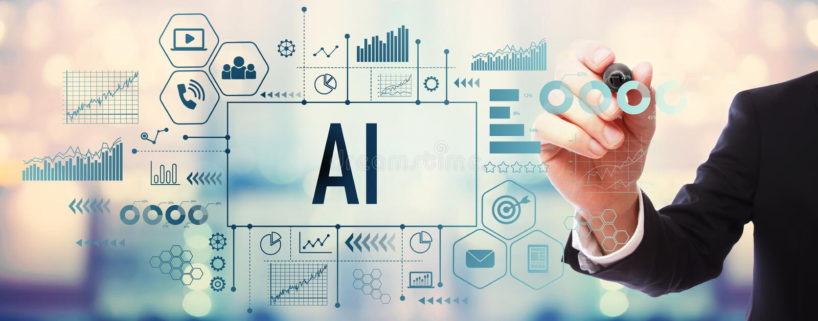 AI with businessman. On blurred abstract background royalty free stock photos