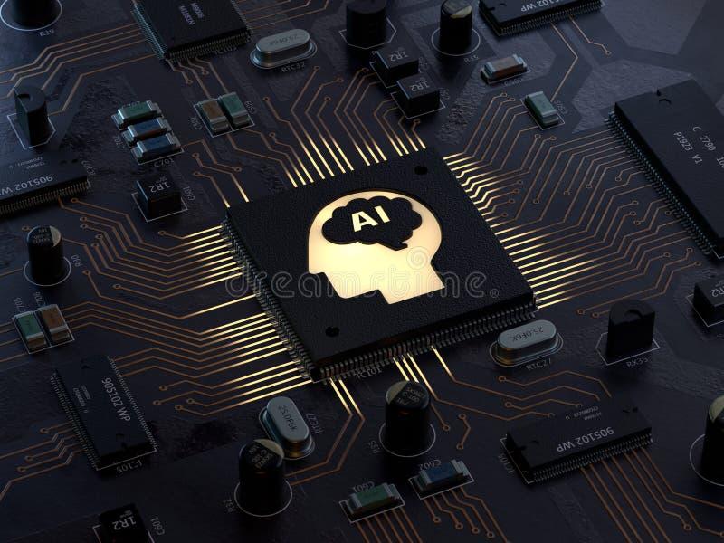 AI,Circuit board,Artificial Intelligence stock illustration