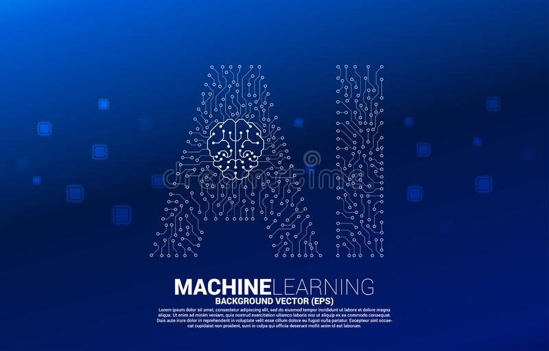 AI from circuit line graphic with brain icon. Concept of machine learning and Artificial Intelligence technology stock illustration