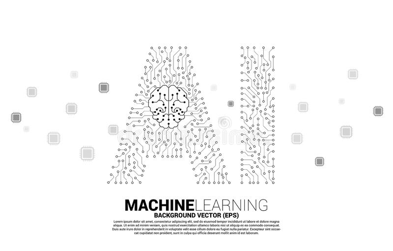 AI from circuit line graphic with brain icon. Concept of machine learning and Artificial Intelligence technology vector illustration