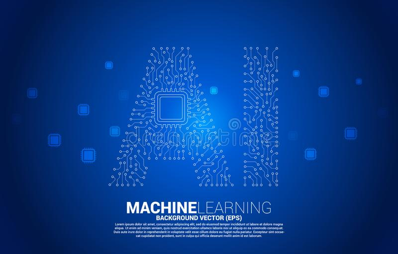 AI from circuit line graphic with CPU. Concept of machine learning and Artificial Intelligence technology vector illustration