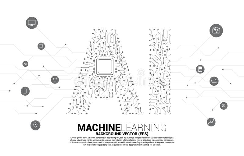 AI from circuit line graphic with CPU. Concept of machine learning and Artificial Intelligence technology royalty free illustration