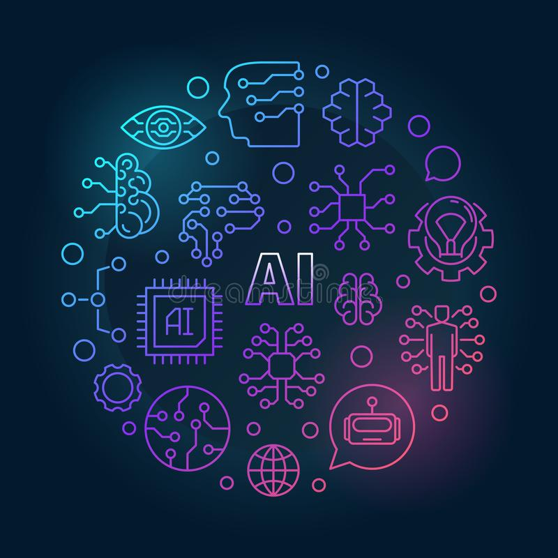 AI colorful illustration. Artificial Intelligence vector sign royalty free illustration