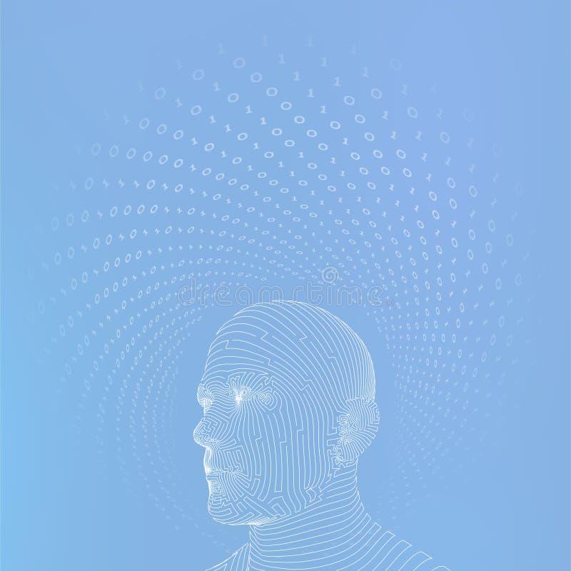 ai Conceito da intelig?ncia artificial C?rebro digital do Ai Rosto humano digital abstrato Cabe?a humana no computador digital do ilustração stock