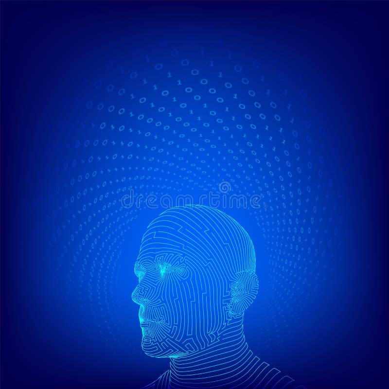 ai Conceito da intelig?ncia artificial C?rebro digital do Ai Rosto humano digital abstrato Cabe?a humana no computador digital do ilustração royalty free