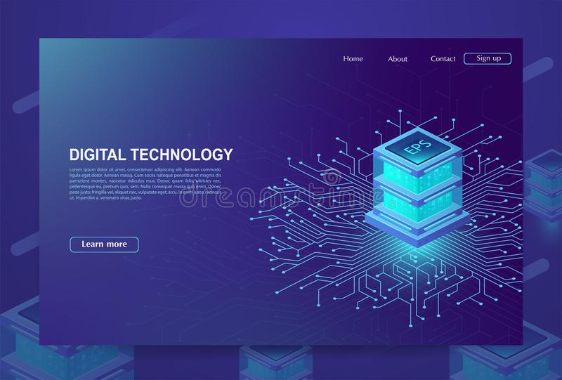 AI. Concept of big data processing center, cloud database, station of future, data mining, energy server. Digital information royalty free illustration