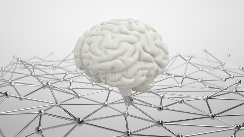AI concept. Brain on top of the network AI concept 3D illustration royalty free illustration