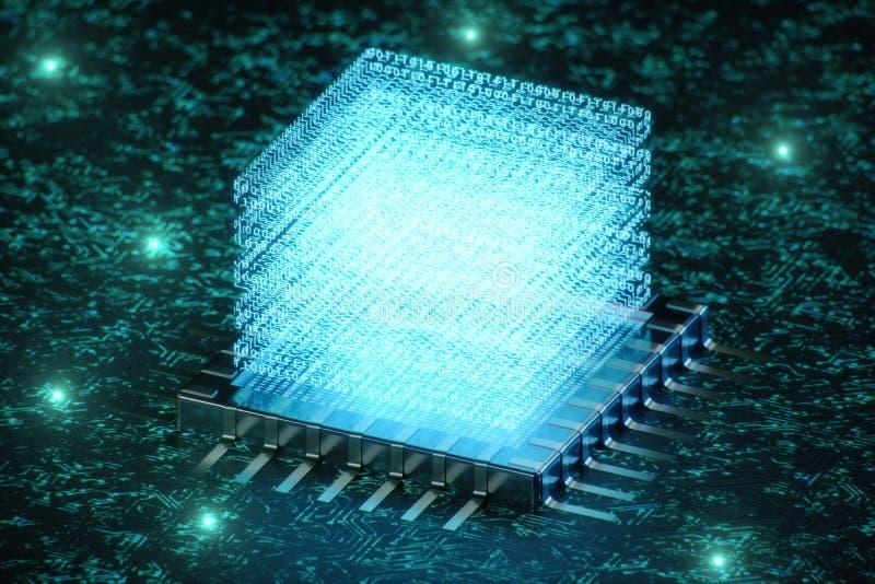 AI - concept d'intelligence artificielle Hologramme au-dessus d'unité centrale de traitement Apprentissage automatique Processeur illustration libre de droits