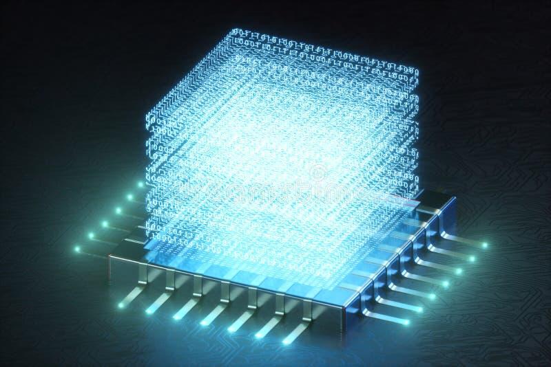 AI - concept d'intelligence artificielle Hologramme au-dessus d'unité centrale de traitement Apprentissage automatique Processeur illustration de vecteur