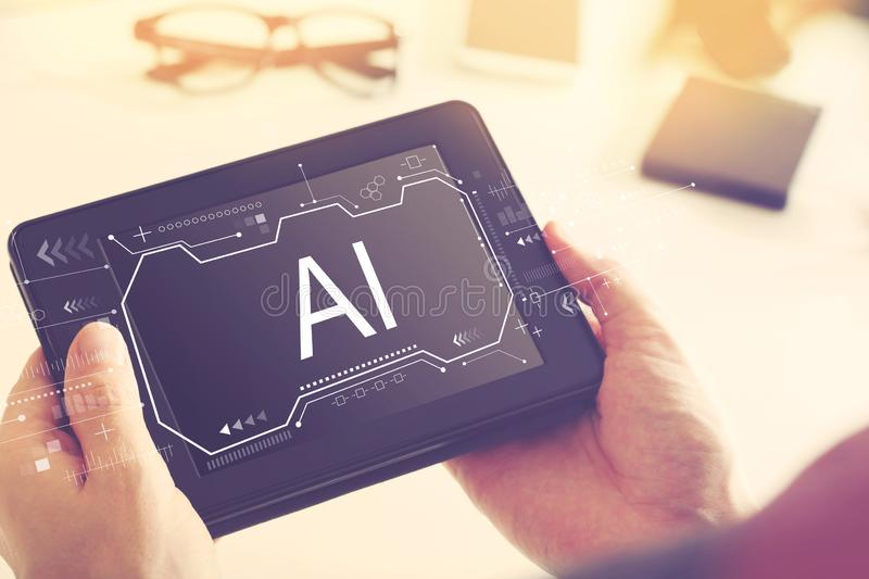 AI concept with a tablet computer stock images
