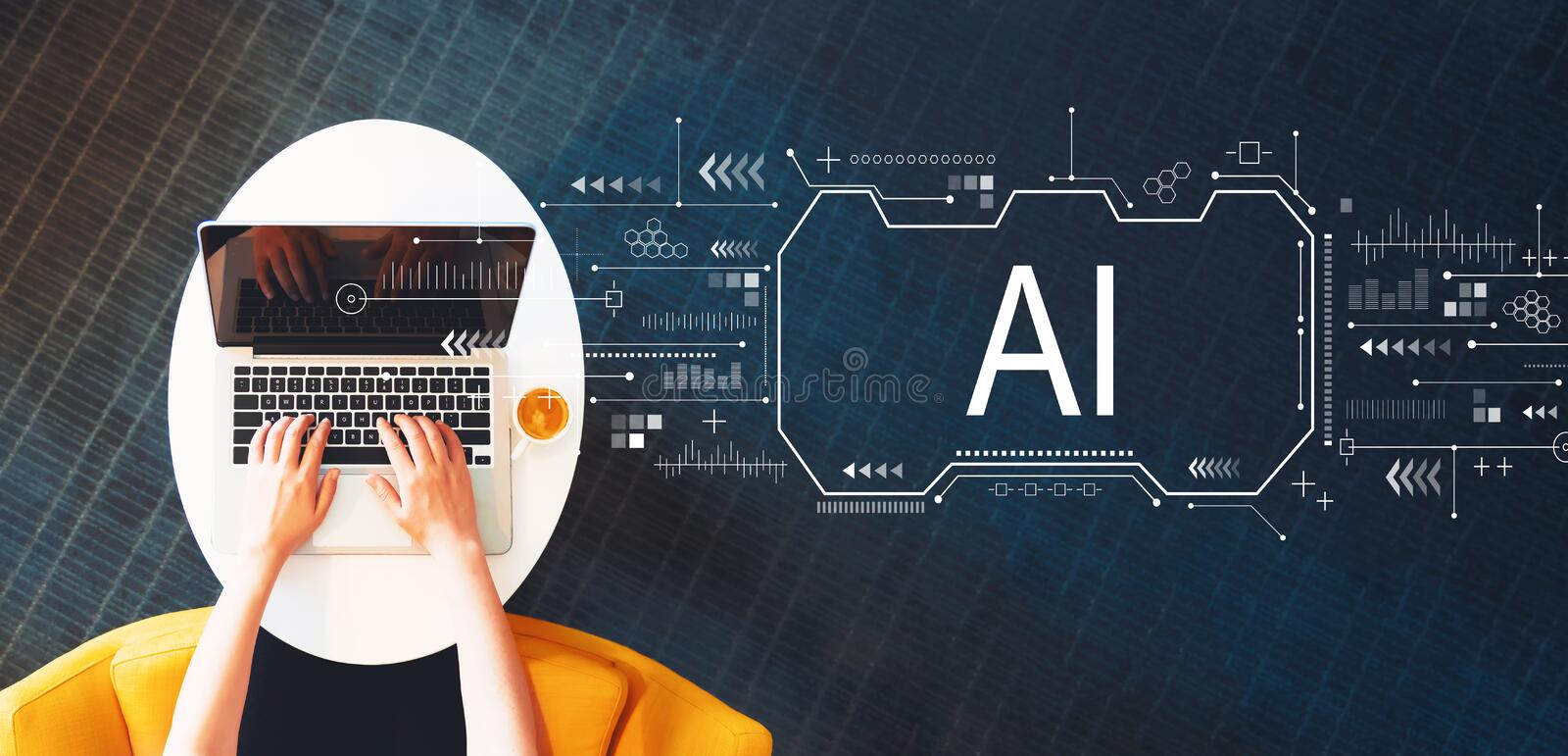 AI concept with person using a laptop. On a white table royalty free stock photos