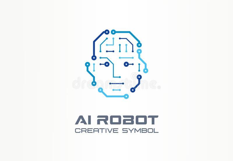 AI concept van de het symboolmachine van de robottechnologie het creatieve Digitaal van het bedrijfs bionische cyborggezicht abst stock illustratie
