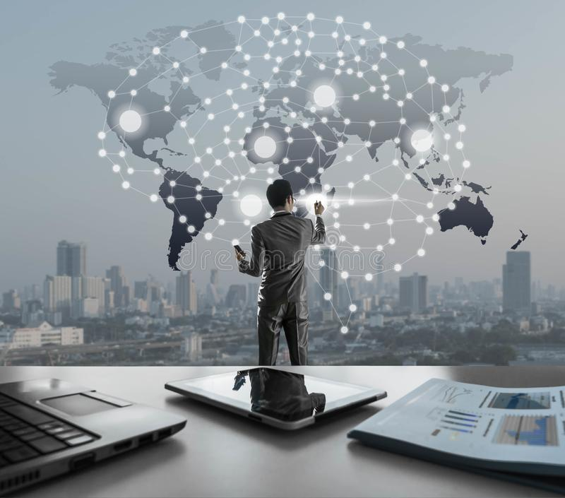 AI conceptueel in bedrijfstechnologie, kunstmatige intelligentie bedriegt stock afbeelding