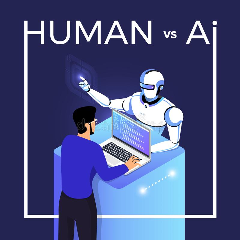 AI contre l'HUMAIN illustration stock