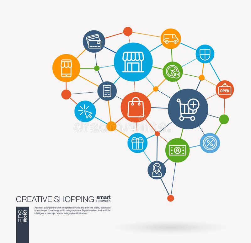 Shopping, ecommerce, market, retail and online sales integrated business vector icons. Digital mesh smart brain idea. AI creative think system concept. Digital vector illustration