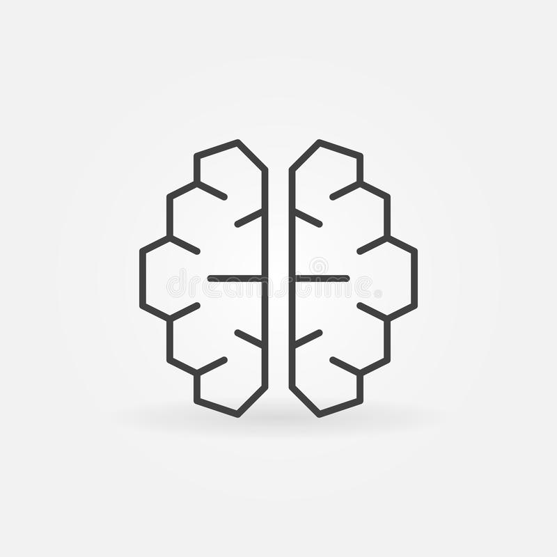 AI cyberbrain icon - vector artificial intelligence brain symbol. AI cyberbrain icon - vector artificial intelligence brain concept symbol in thin line style stock illustration