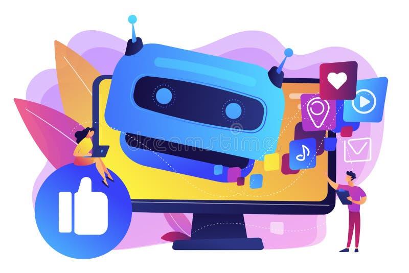 AI in der Social Media-Konzept-Vektorillustration lizenzfreie abbildung