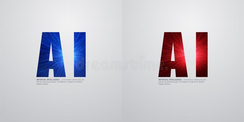 AI, djupt lära och framtida teknologibegreppsdesign - vektorillustration vektor illustrationer
