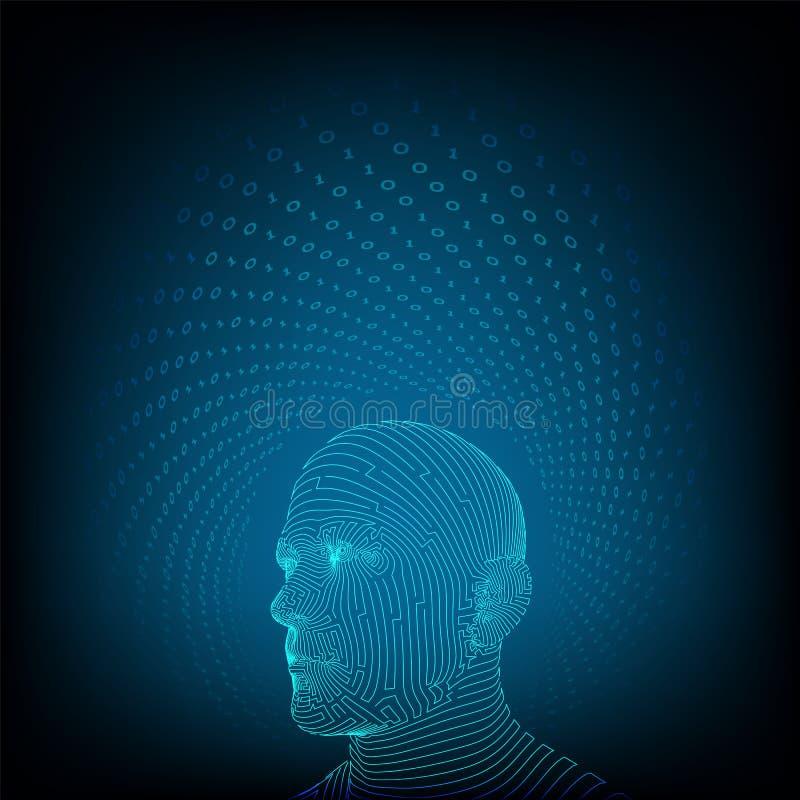 AI E Ψηφιακός εγκέφαλος AI Αφηρημένο ψηφιακό ανθρώπινο πρόσωπο Ανθρώπινο κεφάλι στον ψηφιακό υπολογιστή ρομπότ απεικόνιση αποθεμάτων