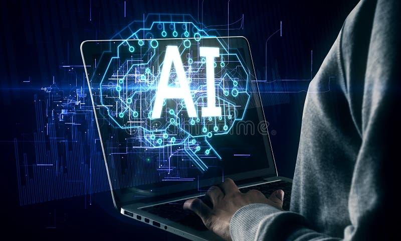 AI e concetto del robot immagini stock libere da diritti