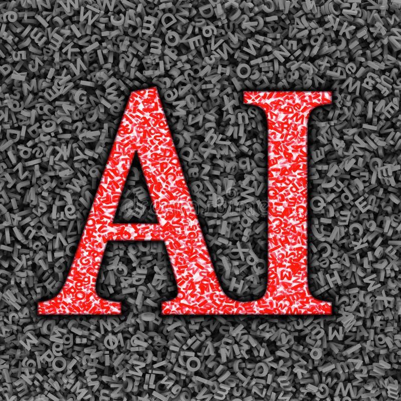 AI e grandi dati, gran quantit? del fondo dei caratteri, illustrazione 3D illustrazione di stock