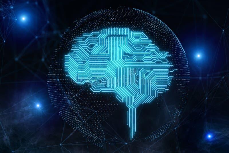 AI en cyberspace concept royalty-vrije illustratie