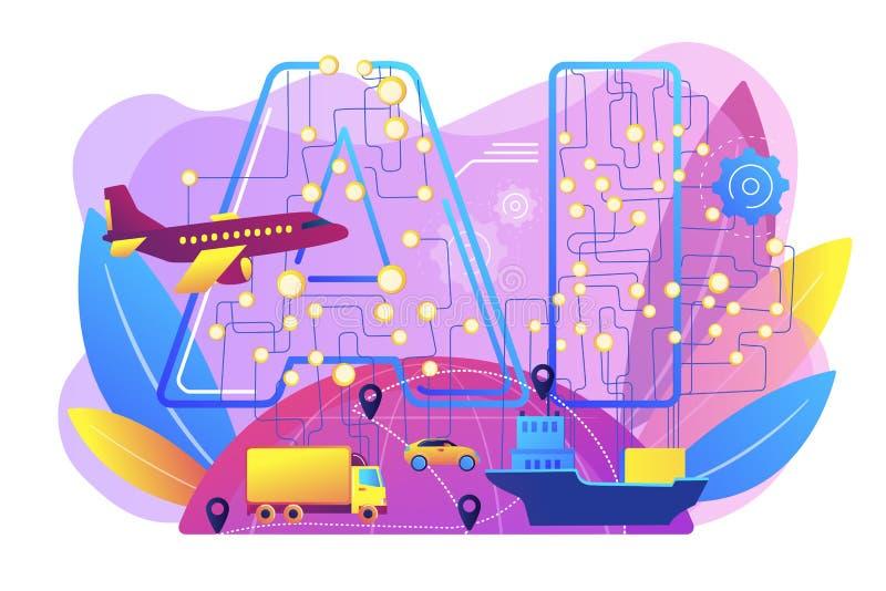 AI en el ejemplo del vector del concepto del viaje y del transporte ilustración del vector