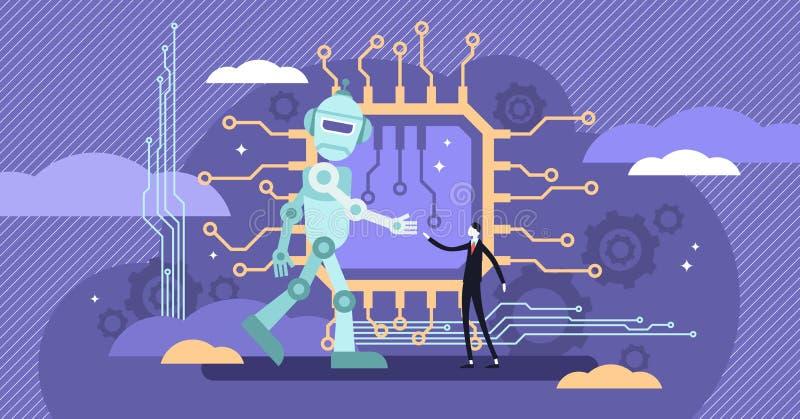 AI ethiek vectorillustratie De vlakke uiterst kleine logica van de het gedragswaarneming van de robotintelligentie royalty-vrije illustratie