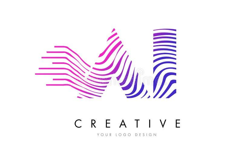 AI A eu zebra alinho a letra Logo Design com cores magentas ilustração stock