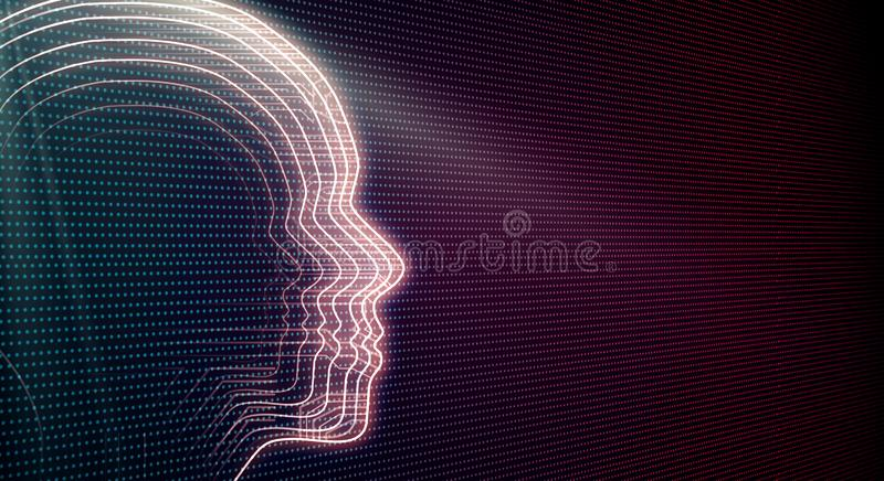 AI and flow concept. Side view of abstract head outline on blurry background. AI and flow concept. 3D Rendering vector illustration