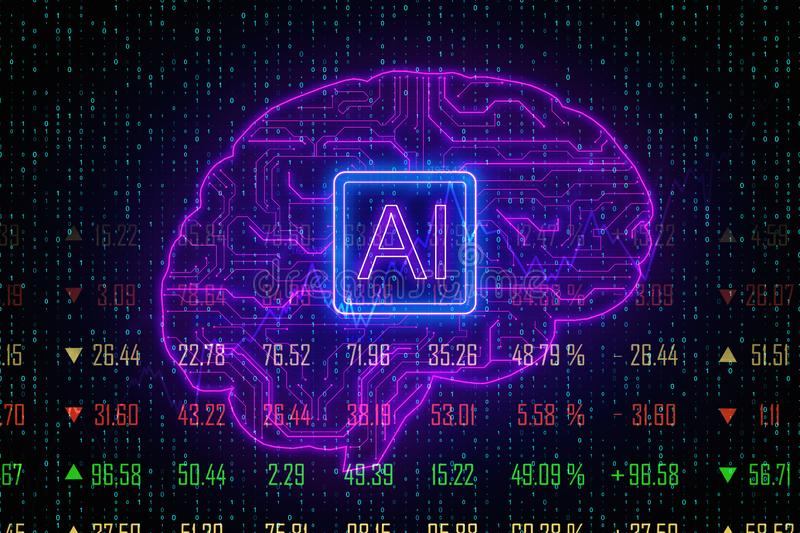 AI and forex concept vector illustration
