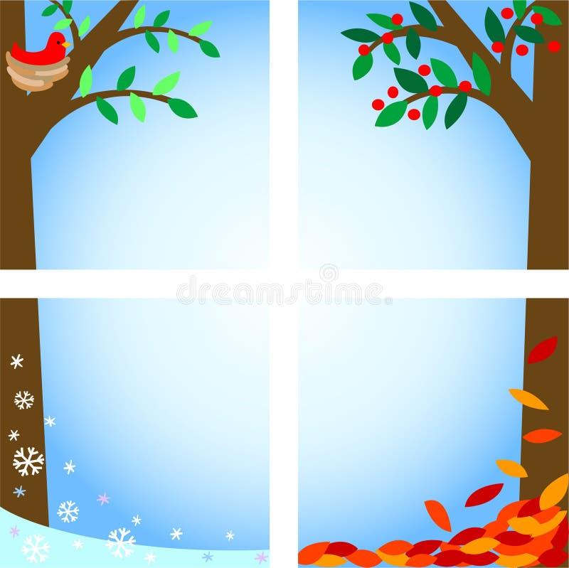 ai fyra säsonger stock illustrationer
