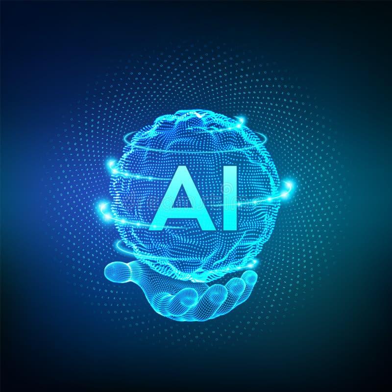 ai In hand kunstmatige intelligentieembleem Kunstmatige intelligentie en Machine het Leren Concept De golf van het gebiednet met  stock illustratie