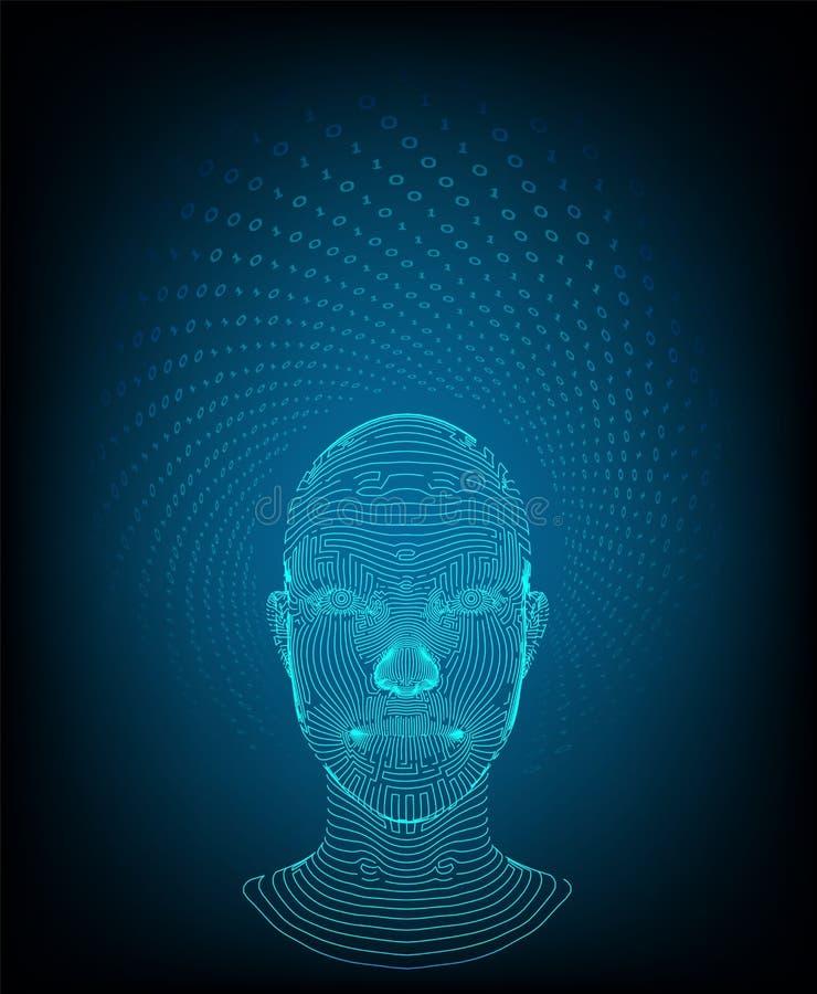 ai Het concept van de kunstmatige intelligentie Ai digitale hersenen Abstract digitaal menselijk gezicht Menselijk hoofd in robot stock illustratie