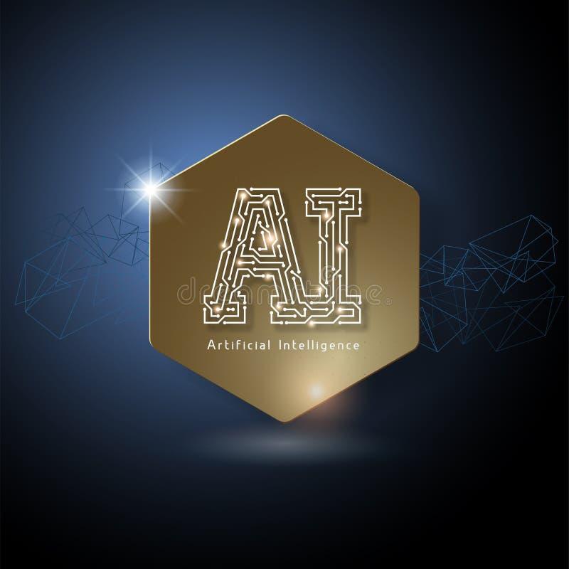 AI het Embleem van de Kunstmatige intelligentiebrief stock illustratie
