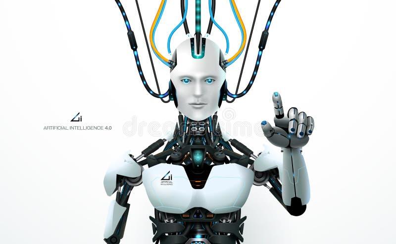 Ai het middel van de technologierobot royalty-vrije illustratie